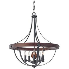 """Murray Feiss Alston 24"""" Wide Rustic Industrial Chandelier - this would be a great cape cod look above a dining table"""