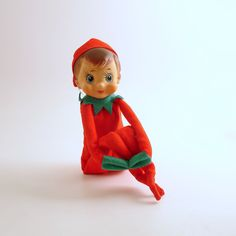 Vintage Christmas Ornament Pixie Elf Knee Hugger Christmas Decoration Good Luck by efinegifts on Etsy