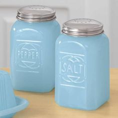 Milky Blue Glass Salt and Pepper Shakers