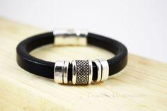 Gift For Him, Men's Bracelet Leather Bracelet Cuff, Gift Under 20 30 by PearlTwinkle