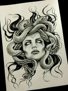 #tattoodesign #snakes #woman #medusa #black&white
