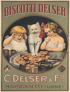 Cats in Art, Illustration, Photography and Design: Italian Biscotti advertisement.