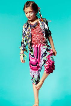 Ethnic tribal kids fashion with trousers by Desigual, jacket by Kenzo, t-shirt by Little Marc Jacobs