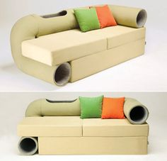This Sofa Comes With A Cat Habitrail Built-In