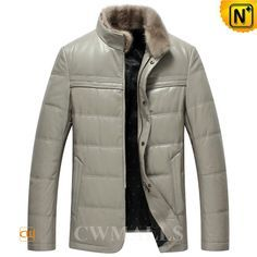 CWMALLS Men's Winter Down Filled Leather Jacket CW846026 Classics winter down filled leather jacket for men crafted from supple grey sheepskin leather shell and warm down padded, offers plenty of warmth and protection.Down leather jacket for men designed in removable mink fur collar and zipper and snap button. www.cwmalls.com PayPal Available (Price: $597.89) Email:sales@cwmalls.com