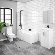 SHOP the Brooklyn Gloss White Bathroom Suite with Tall Wall Hung Cabinet at Victorian Plumbing UK Oak Bathroom, Family Bathroom, Grey Bathrooms, Modern Bathroom, Master Bathroom, Fully Tiled Bathroom, Jungle Bathroom, Grey Bathroom Floor, Bathroom Feature Wall
