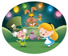 Chibi Alice, Mad hatter, and March hare.