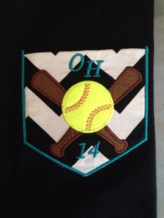 Personalized Baseball or Softball applique shirt with or without pocket embroidered w monogram or name pick size, color thread, T-shirt by wmartin13 on Etsy