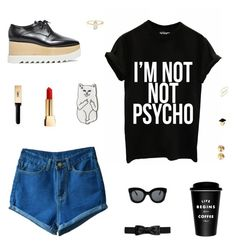 """Psycho"" by belenloperfido ❤ liked on Polyvore featuring STELLA McCARTNEY, RIPNDIP, CÉLINE, Yves Saint Laurent, Eddie Borgo, Kenneth Jay Lane and BP."