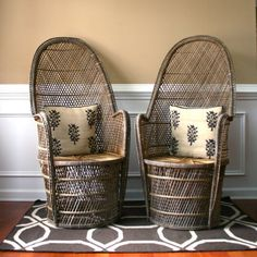 Pair High Fan Back Chairs. Throne Chairs.... —