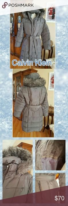 "🌬⛄Calvin Klein winter🌬coat🌬 EUC Full length 80% duck down 20% waterfowl  Machine washable Detachable hood Zipper and snaps, belt Many pockets inside and out Length 37.5"" Sleeve 23"" Minor mark bottom front, barely noticeable  Warm coat! Not super puffy, like all down filled Calvin Klein Jackets & Coats Puffers"