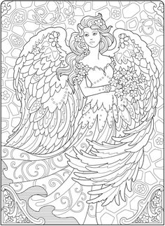 Creative Haven Beautiful Angels Coloring Book @ Dover Publications