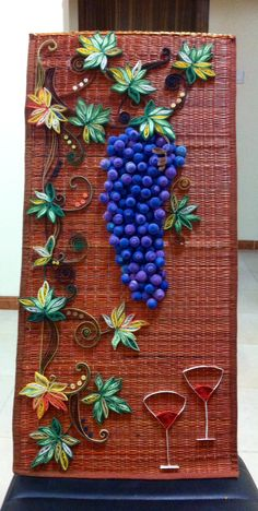 Quilling paper grapes wall decor on the table runner...
