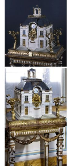 Pasquier, Robin & Bourron - An exquisite architectural model of the Samaritaine Pump on The Pont Neuf in Paris dating from 1772; mounted on an fine table support. It is one of the two copies ordered by the Comte d' Artois, to be given as gifts to his wife and the Dauphine Marie Antoinette. All the elements, clock, barometer and furniture are removable. Carved painted and gilded wood, ormolu bronze, mirrored glass, enamel - Dim: 98x75x56cm - Musée Carnavalet, Paris