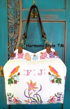 Your place to buy and sell all things handmade Upcycled Vintage, Vintage Cotton, Vintage Linen, Embroidery Bags, Vintage Embroidery, Interfacing Fabric, Hungarian Embroidery, Linen Bag, Unique Bags