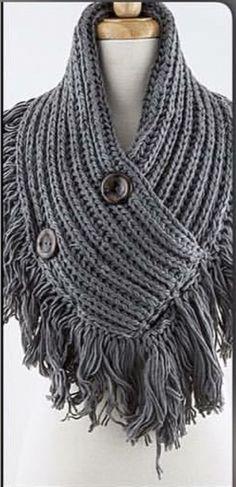 d3fa3a256819 Button Diagonal Soho Boho Knit Infinity Scarf Fringe Gray Color