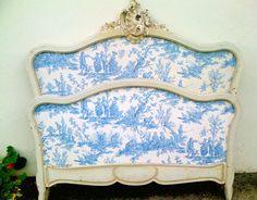 Original Toile Rococo Bed French antique none the less