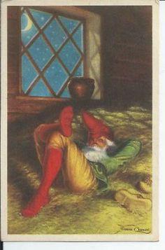 Anders Olsson Julkort Småkort Tomte sover i höet pg 1947 KV 7 på