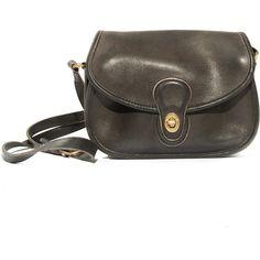 Vintage Coach Handbag Black Leather Purse Long Shoulder Strap ( 78) ❤ liked  on Polyvore 80018476654cc