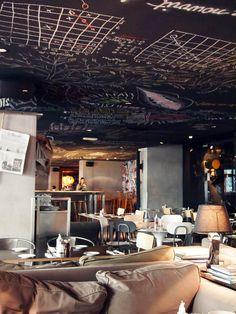 Mama Shelter - Hotel Bar Restaurant, 109 Rue de Bagnolet 75020 Paris - imagine a ceiling Restaurant Paris, Restaurant Design, Luxury Restaurant, Cafe Bistro, Cafe Bar, Commercial Design, Commercial Interiors, Deco Cafe, Resto Paris