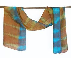 hand painted silk scarf screen printed shibori dyed by 88editions
