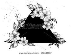 Find Hand Drawn Vector Illustration Triangle Flowers stock images in HD and millions of other royalty-free stock photos, illustrations and vectors in the Shutterstock collection. Dreieckiges Tattoos, Tattoo P, Dark Tattoo, Flower Tattoos, Black Tattoos, Celtic Tattoos, Chest Tattoo, Girl Tattoos, Black Tattoo Cover Up