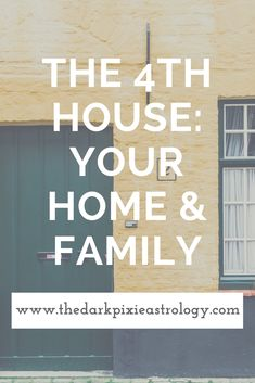 Your home and family is shown through the 4th house: http://www.thedarkpixieastrology.com/blog/the-4th-house-your-home-family