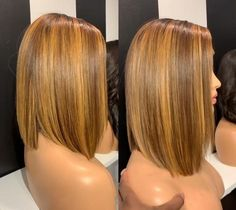 Blonde Highlights Short Hair, Blonde Ombre Bob, Blonde Natural Hair, Blonde Bob Wig, Honey Blonde Hair, Ombre Brown, Natural Hair Styles, Short Hair Styles, Wig Styles