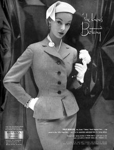 Fitted tailored jacket. Botany fashion ad 1950s--from Cocktails and Crinolines.