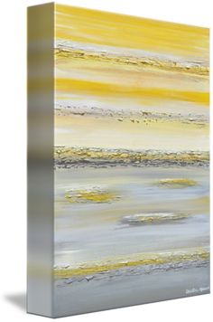 """""""Summer Reflections"""" Large Giclee PRINT, CANVAS PRINT of Original Yellow Grey Abstract Painting Contemporary Urban Painting Modern Abstracts Prints Home Decor S"""