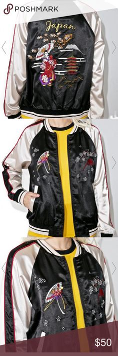 LA Candy Japan Bomber Japan bomber really cool style. Worn once in good condition. Brand is la candy. Bought from dolls kill. Tagged Nasty Gal cause neither of those brands shows up. Nasty Gal Jackets & Coats