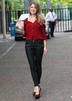 zara waxed effect trousers