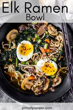 This elk bone broth ramen bowl is an easy pressure cooker recipe made with hearty elk bone broth combined with deliciously fresh ramen ingredients. Elk Meat Recipes, Wild Game Recipes, Cooking Recipes, Ramen Soup, Stuffed Mushrooms, Stuffed Peppers