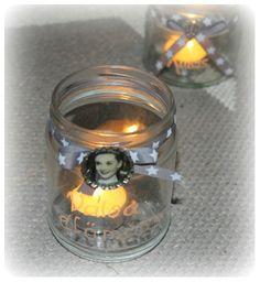Upcycled salsa jar + bottle cap. Don' you just love Audrey Hepburn?