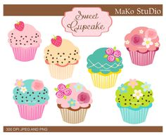 Cupcakes clipart  PNG & JPEG format by makostudio on Etsy