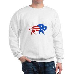North American Bison USA Flag Retro Sweatshirt