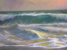 """American Legacy Fine Arts presents """"Churning Close-Out; Oceanside, California"""" a painting by Peter Adams."""