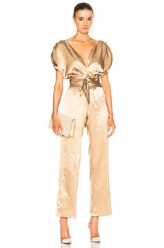 Shop for Carolina Ritzler Luisa Jumpsuit in Gold at FWRD. Satin Jumpsuit, Jumpsuit Outfit, Classy Work Outfits, Chic Outfits, Glam Dresses, Fashion Dresses, Summer Wedding Outfits, Pantsuits For Women, Playsuit Romper