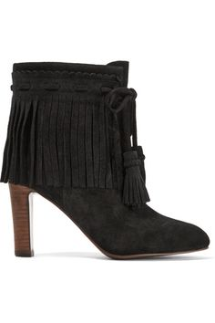 See by Chloé - Fringed Suede Ankle Boots - Black - IT37.5