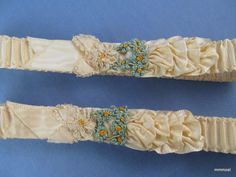 Vintage 1920s Pair Flapper Garters Ribbon Work & French Knot Flowers Bridal