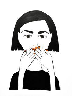 Instagram: my_moody_my #ink #inkillustration #inkpainting #illustration #drawing #sketch #doodle #illustrationart #woman #threemonkeys #blackink #red