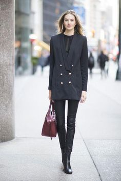 All types of Valentine's Day date outfit ideas: Skinny pants and a sharp blazer are unexpected, but super chic for dinner or drinks