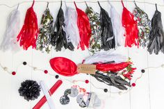 Soleil Moon Frye's Party-in-a-Box (pirate theme), including premade decorations (tassel garlands, giant balloon, etc.), treat toppers, goodie bags and crafts.