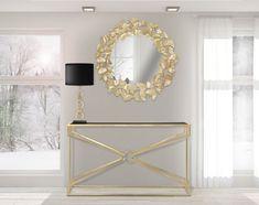 Oglinda decorativa rotunda Leaf D87cm Entryway Decor, Console, Wall Lights, Lighting, Metal, Frame, Madrid, Design, Home Decor