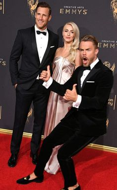Multi-talented photo bomber, Derek Hough Photobombs Sister Julianne Hough as they momentarily steals the spotlight at the Emmy Creative Awards.