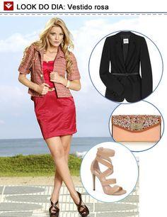 Look do dia: vestido rosa com acessórios nude e blazer preto, compondo um look perfeito para a balada! Gostaram?
