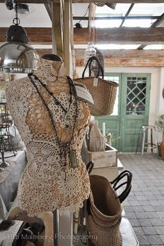 mannequin with vintage doilies need to do this to my ripped one...