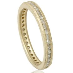Raw Diamond Eternity Stackable 1/2CT Wedding Anniversary Ring Band Channel Set 14K Yellow Gold Size (4-9). via Etsy.