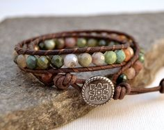 Earthy Leather Wrap Bracelet Boho Chic Beaded By Sinonadesign 32 00 Natural Jewelry