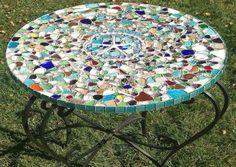 sea glass tile table top